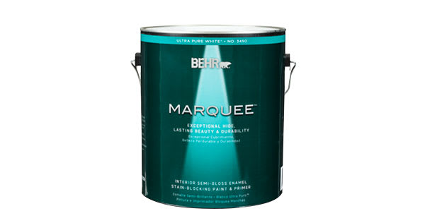 "Photo of a can of ""pure white"" Behr interior paint."
