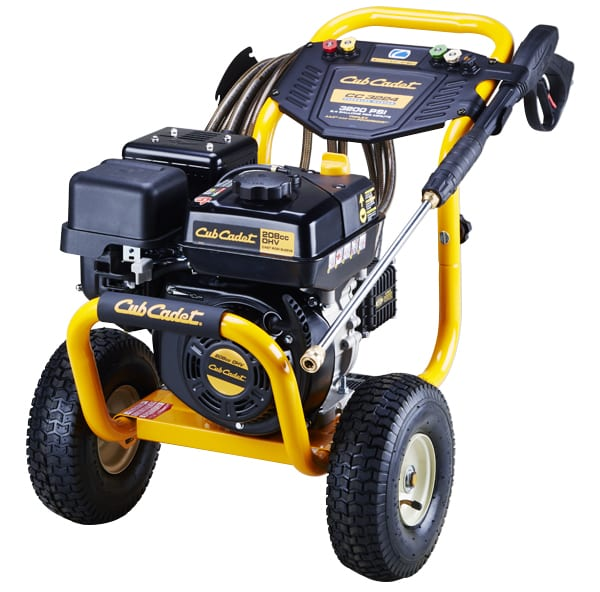 Picture of a black and yellow gas-powered Cub Cadet pressure washer.