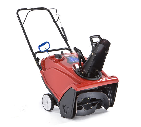 A single-stage gas snow blower.