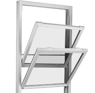 A double-hung window.