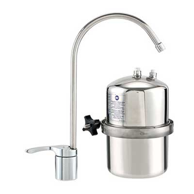 An under-sink water filter.