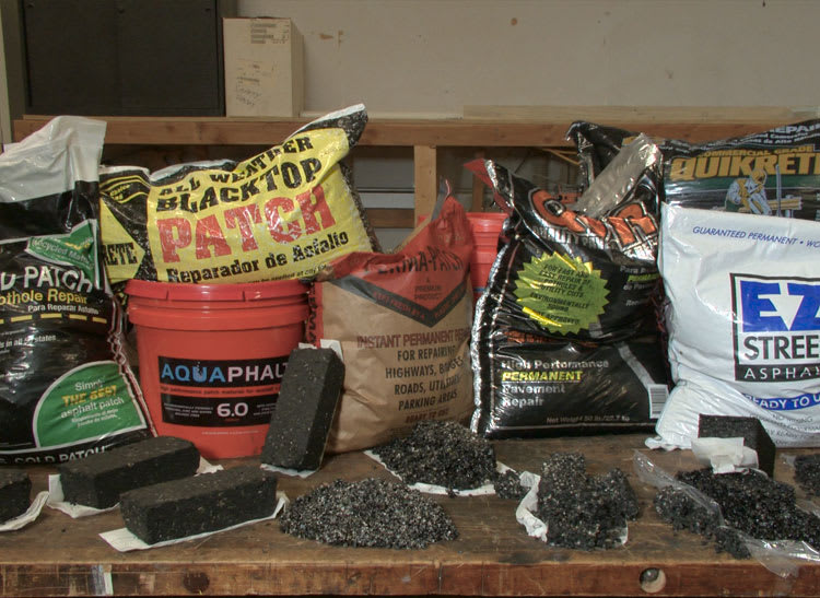 Seven driveway repair blacktop patch products tested by Consumer Reports.