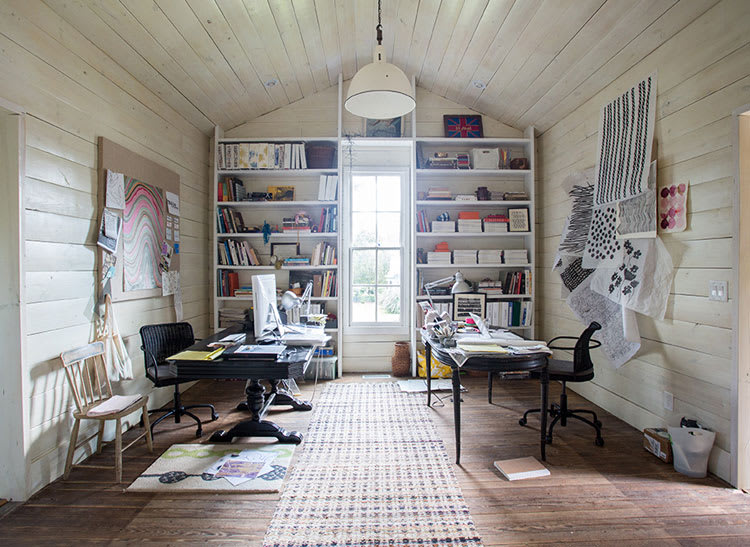Susan Hable's home office with whitewashed walls.