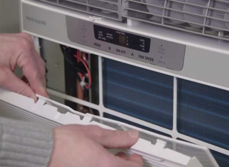 Keep window air conditioners clean by changing the filter.