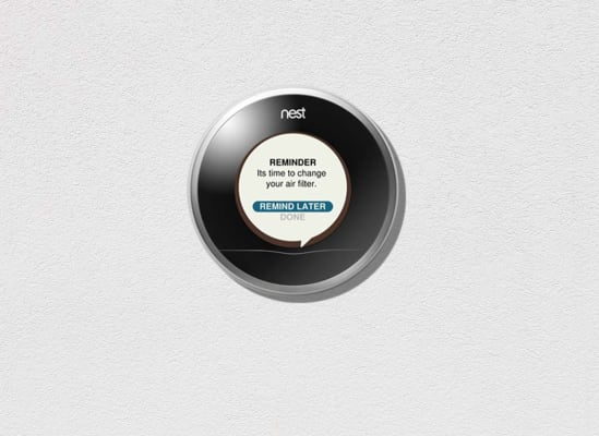 A pop-up message on a thermostat with a reminder that the filter needs to be changed.
