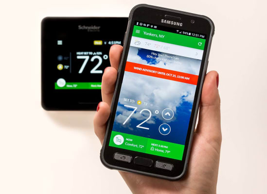 The Schneider Electric Wiser Air smart thermostat offers a companion smartphone app and voice control via Amazon Alexa.