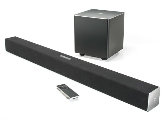 A sound bar with remote that can be used with a Blu-ray player.