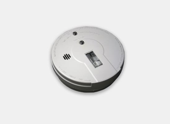 A smoke detector with a path light and strobe light for the hearing impaired.