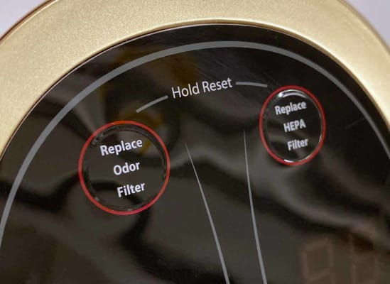 An air purifier's filter service indicator alert.