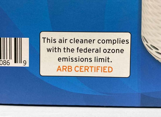 An air purifier label that states the model is ARB certified.