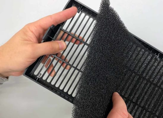 A washable prefilter for an air purifier.