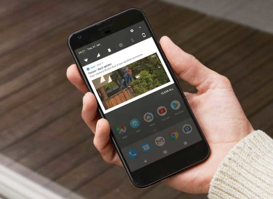 An open app for a home security system on a smartphone screen.