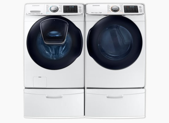 Samsung WF50K7500AW Washer and Samsung DV50K7500EW Dryer on pedestals