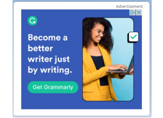 An ad for Grammarly on we saw on weather.com. The next slide shows the cookie that triggered this ad.
