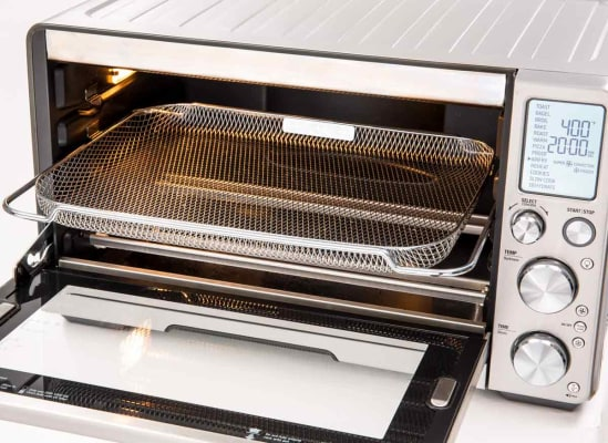 A toaster oven with air fryer settings.