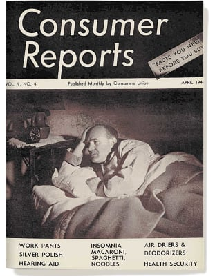 An image of the April 1944 Consumer Reports Magazine cover.