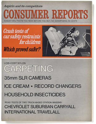 An images of the August 1972 Consumer Reports Magazine cover.