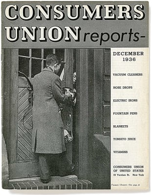 An image of the December 1936 Consumer Reports Magazine cover.