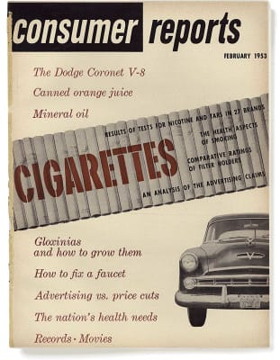 An image of the February 1953 Consumer Reports Magazine cover.