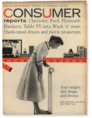 An image of the February 1958 Consumer Reports Magazine cover.
