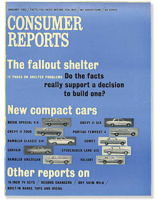 An images of the January 1962 Consumer Reports Magazine cover.