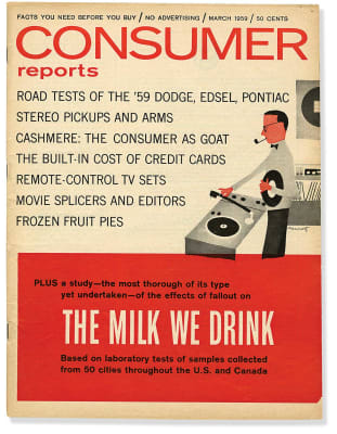 An image of the March 1959 Consumer Reports Magazine cover.