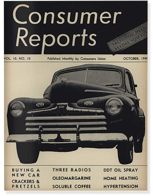 An image of the October 1945 Consumer Reports Magazine cover.