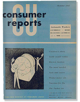 An image of the October 1947 Consumer Reports Magazine cover.