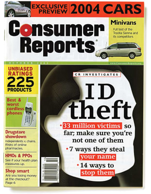 An image of the October 2003 Consumer Reports Magazine cover.