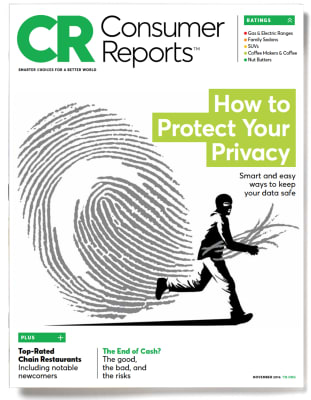 An image of the November 2016 Consumer Reports Magazine cover.