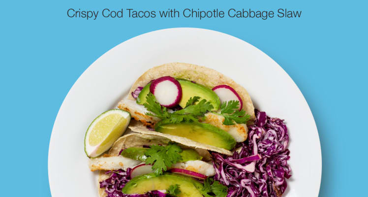 Blue Apron Crispy Cod Tacos with Chipotle Cabbage Slaw