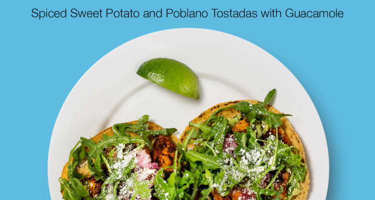Blue Apron Spiced Sweet Potato and Poblano Tostadas with Guacamole