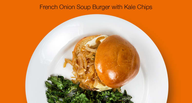 HelloFresh French Onion Soup Burger with Kale Chips