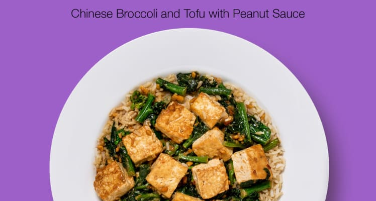 Purple Carrot Chinese Broccoli and Tofu with Peanut Sauce