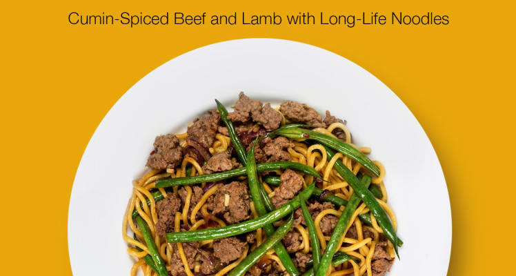 Plated Cumin Spiced Beef and Lamb with Long Life Noodles