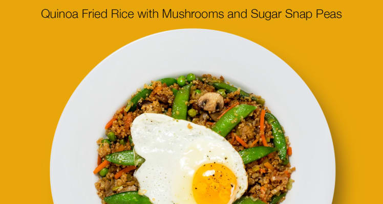 Plated Quinoa Fried Rice with Mushrooms and Sugar Snap Peas