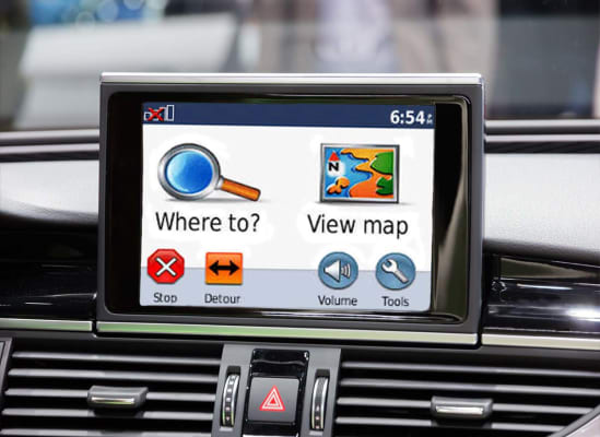 photo of the screen of a GPS in a car.