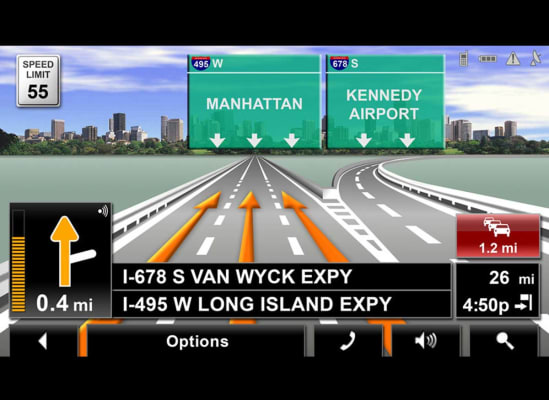 Photo of a GPS display showing lane assistance.