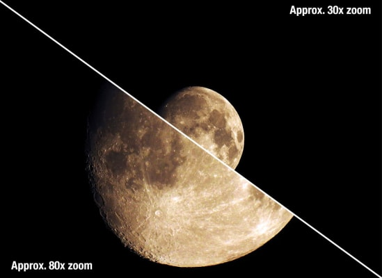 A split image showing a digital picture of the moon captured with an 80x zoom lens compared with the same moon captured by a 30x zoom lens.
