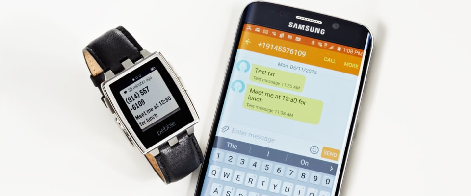 An image of a Samsung smartphone next to a Pebble Steel smartwatch which has excellent legibility in bright sunlight.
