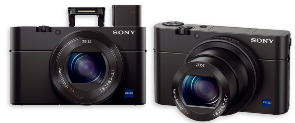 An image of two Sony Cyber-shot DSC-RX100 iii digital cameras, which have LCDs screens that scored well in our tests against screen glare under bright lights.