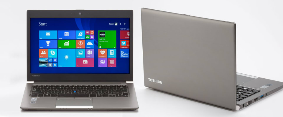 An image of the front and back of a Toshiba Portege Z30-BSMBN22, a laptop with a 13-inch screen that performed well in test against harsh lighting glare.