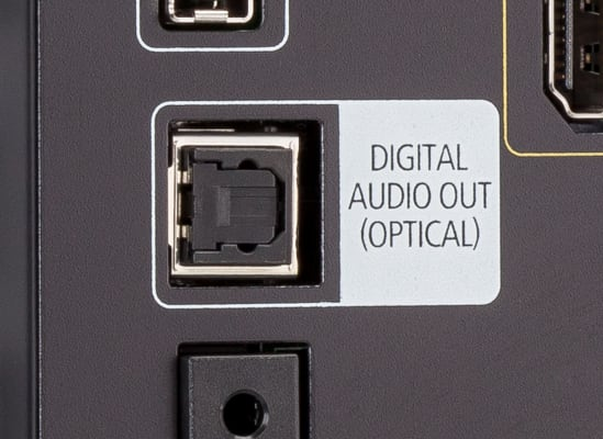 A TV's digital optical audio output.
