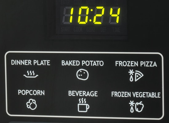 Six microwave-oven shortcut keys.