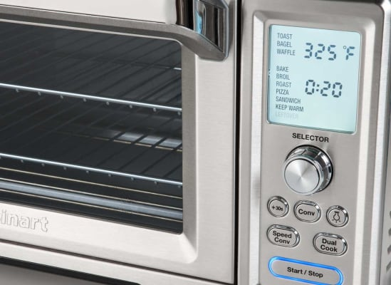 A toaster oven that has a countdown timer.