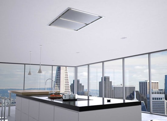 Zephyr Lux vent hood sits flush with the ceiling