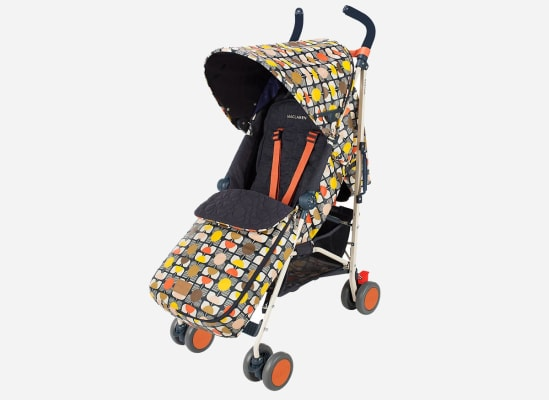 A stroller with a boot (foot muff) to keep a kid's feet and legs warm.