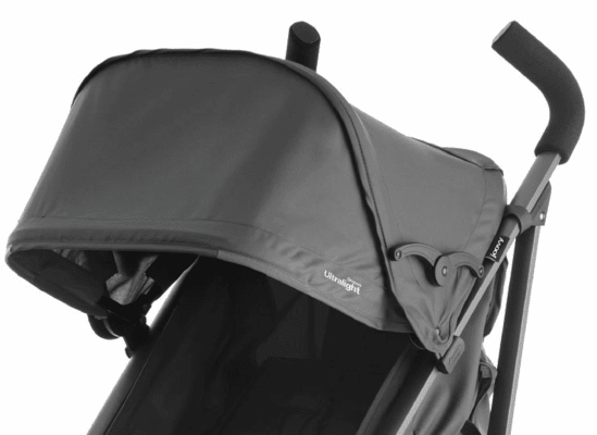 An open canopy on a stroller.