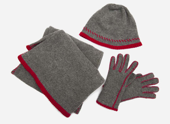 A picture of a hat, scarf and pair of gloves, which motorists need to have in their cars during winter road trips to keep warm during emergencies.
