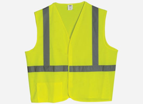 An image of a yellow, reflective safety vest, an item motorists should carry in their car so they can remain visibile during night-time road emergencies.
